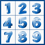 Sudoku Up 2011 - Blue 3D - New Fonts and Numbers