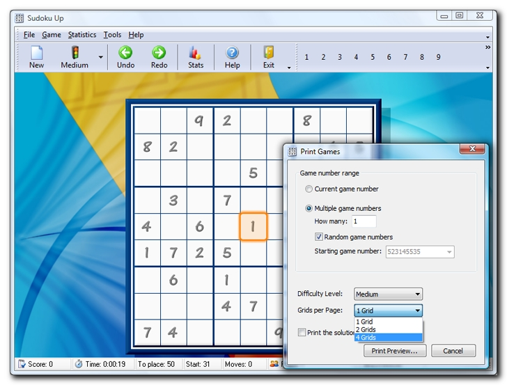 To print the current Sudoku grid - screenshot