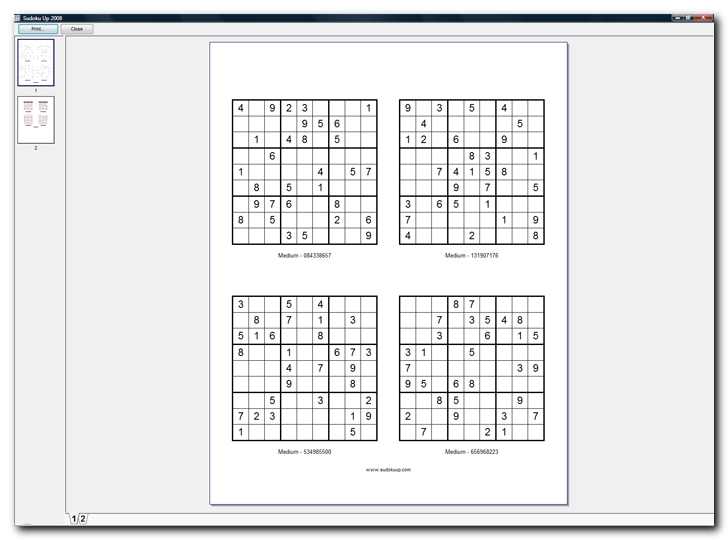 Printed sheet with four Sudoku grids - screenshot