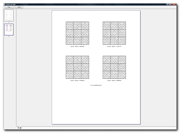 Printed sheet with the four above Sudoku grid solutions - screenshots